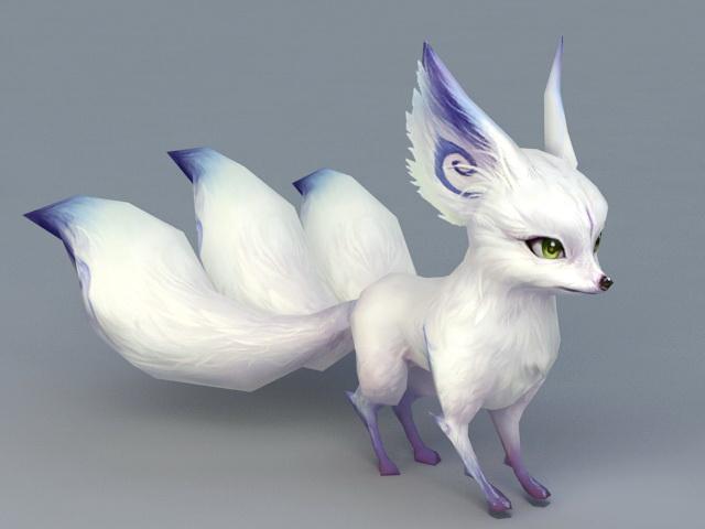 White Fox Spirit Animal 3d model