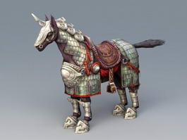 One Horned War Horse 3d model