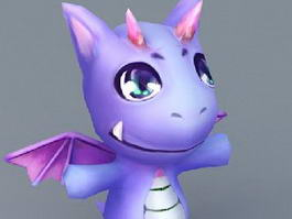 Cute Purple Cartoon Dragon 3d model