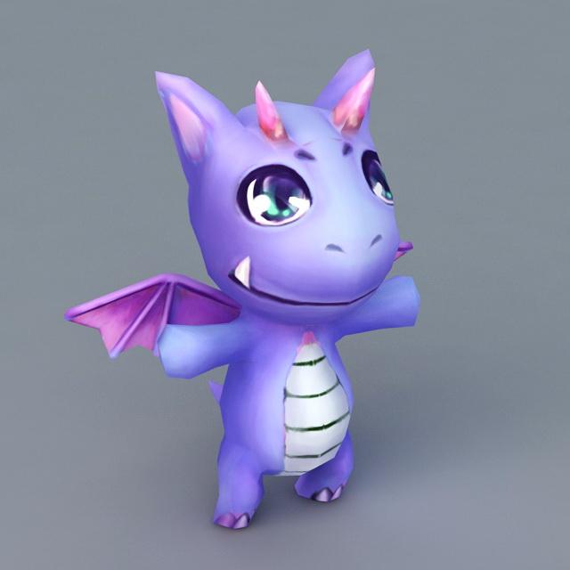Cute Purple Cartoon Dragon 3d model