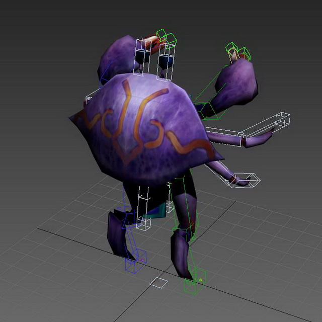 Purple Crab Cartoon 3d rendering