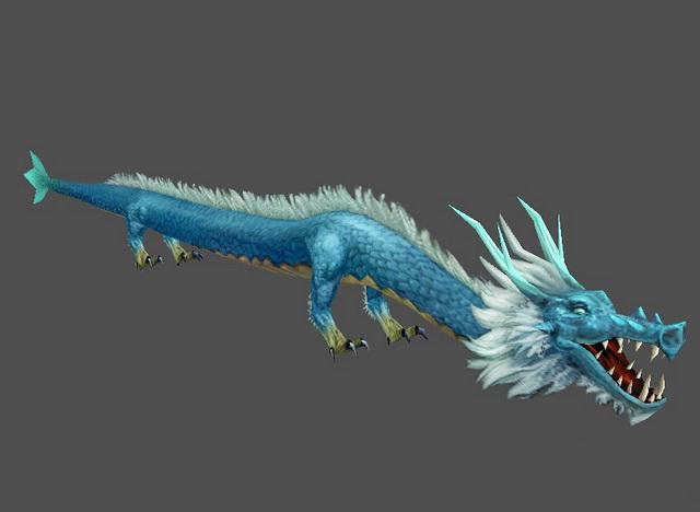 Blue Asian Dragon 3d model