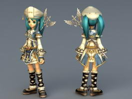 Anime Light Mage Girl 3d model