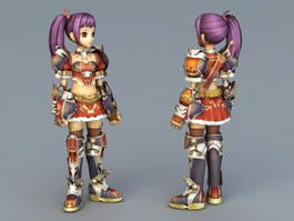 Anime Girl Warrior Elite 3d model