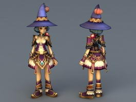 Cute Anime Witch Girl 3d model