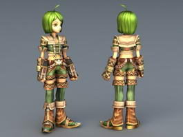 Green Anime Girl Fighter 3d model