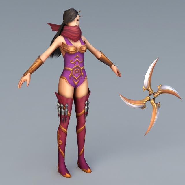 Ninja Girl 3d Model 3ds Max Files Free Download Modeling
