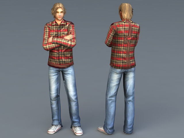 Cute Guy with Blonde Hair 3d model