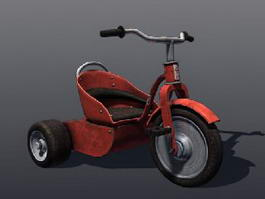 Classic Red Tricycle 3d model