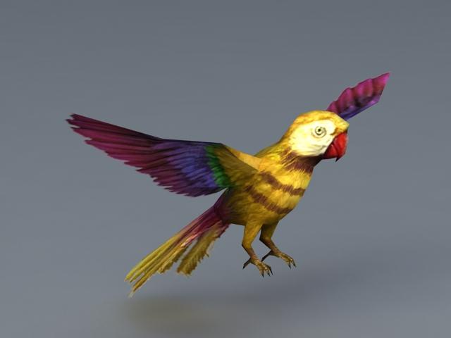 Yellow Parrot Bird 3d model