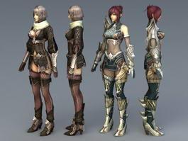 Female Magic Warrior 3d model