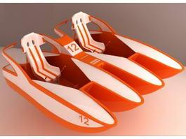 Paddle Pedal Boat 3d model