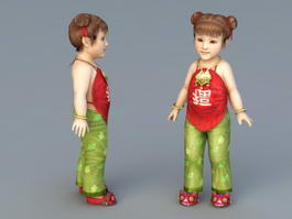 Chinese Toddler Girl 3d model