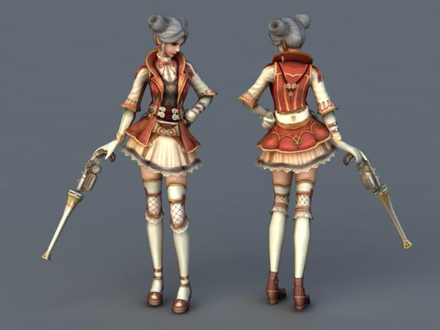 Anime Gunner Girl 3d model 3ds Max files free download - modeling