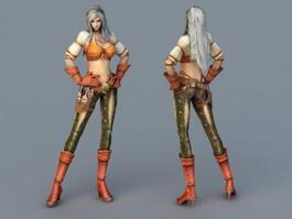 Female Fighter Art 3d model
