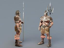 Barbarian Warrior with Spear 3d model