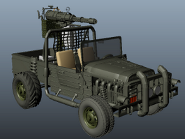 Gun Truck Fighting Vehicle 3d model