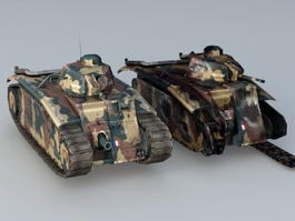 WW2 French Char B1 Tanks 3d model