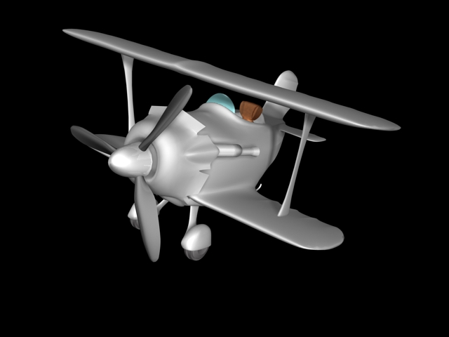 Animated Cartoon Airplane 3d model