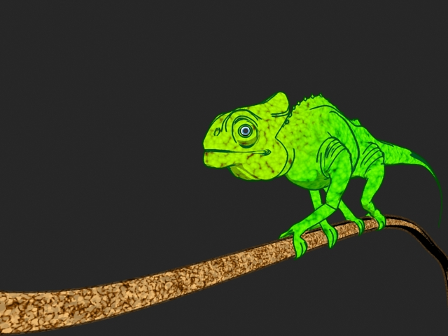 Cartoon Chameleon Animated & Rigged 3d model