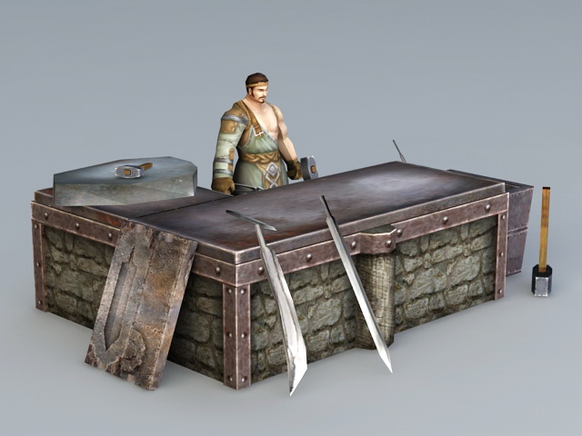 Medieval Asian Blacksmith 3d model