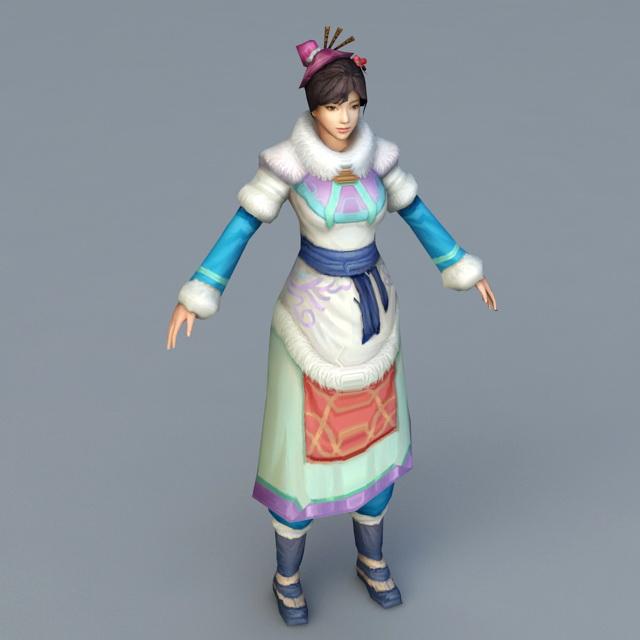 Mongolian Woman 3d model