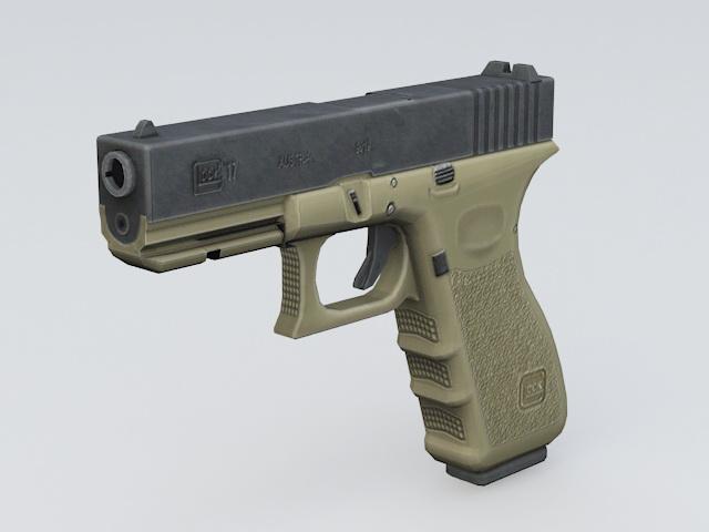 Glock 17 Pistol 3d model 3ds Max files free download - modeling