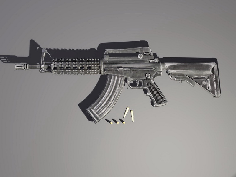 M4 Carbine with Bullet 3d model Maya files free download - modeling