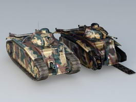 Char B1 Tank and Wrecked 3d model