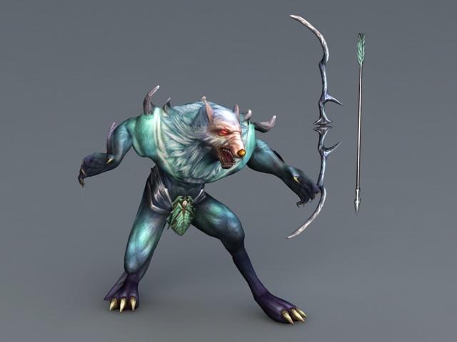 Werewolf Archer with Bow 3d model