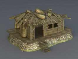 Abandoned Wooden House 3d model