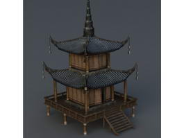 Korean Pagoda Building 3d model