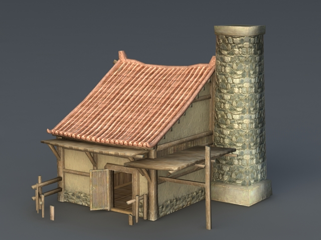 Desert Building with Tower 3d model