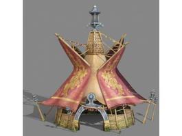 Wood Tent Shelter 3d model