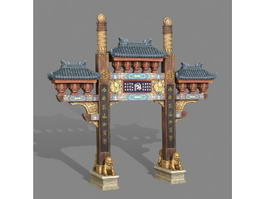 Ancient Chinese Paifang 3d model