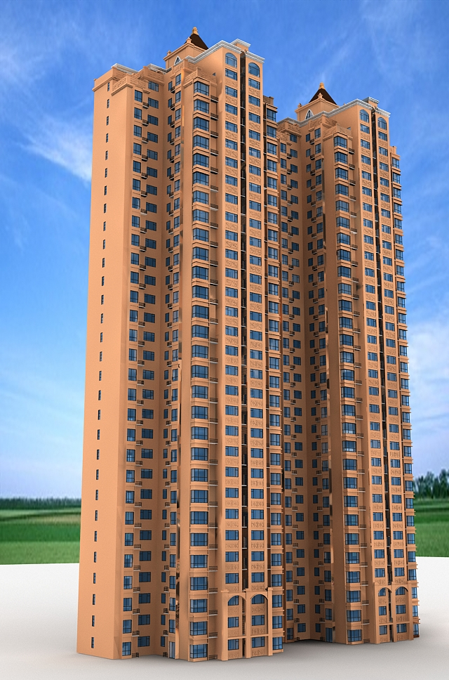 High-rise Residential Tower Architecture 3d model