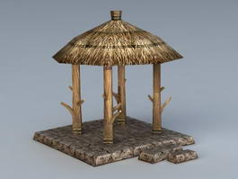 Thatch Roof Gazebo 3d model
