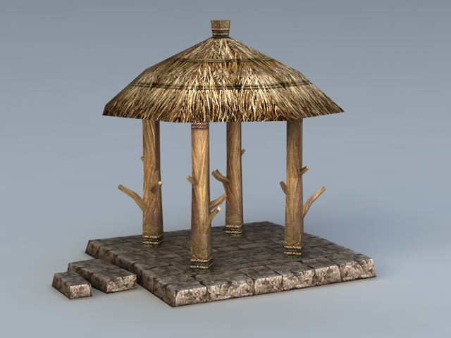 Thatch Roof Gazebo 3d Model 3ds Max Files Free Download