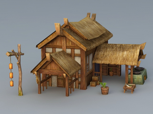 Ancient Village Thatched House 3d model