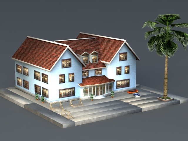 Tropical Beach House 3d model
