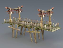 Old Wooden Bridge 3d model