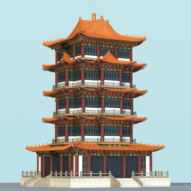 Pagoda Building 3d Model 3ds Max Files Free Download