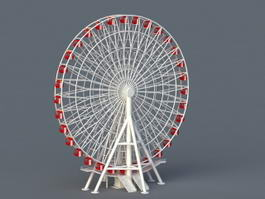 Amusement Park Ferris Wheel Ride 3d model