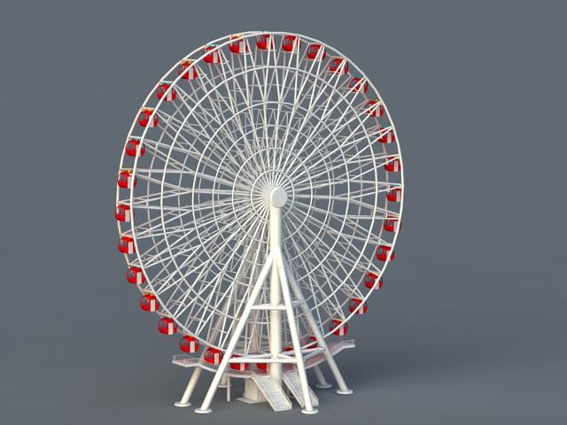 Amusement Park Ferris Wheel Ride 3d Model 3ds Max Files