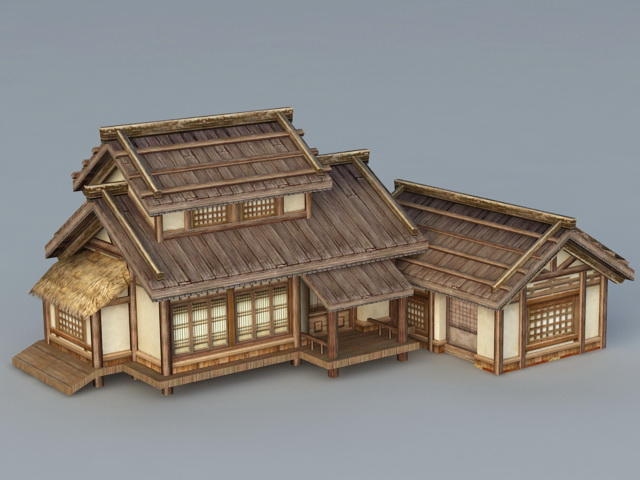 Old japanese house 3d model 3ds max files free download for Free 3d house models