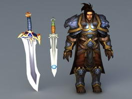 Human King with Swords 3d model