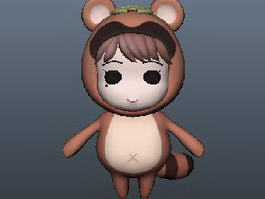 Cartoon Raccoon Girl 3d model
