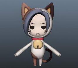 Cat Girl Anime Character 3d model
