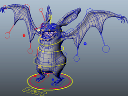 Cartoon Bat Rig 3d model