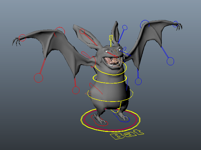 Cartoon Bat Rig 3d model Maya files free download - modeling 40542